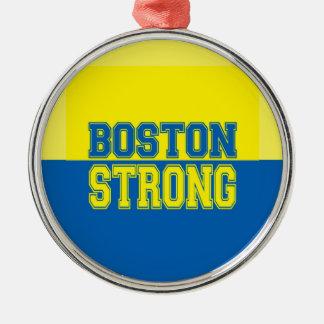 Amarillo fuerte y azul del regalo de Boston Adorno Navideño Redondo De Metal