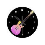 amarillo gradient.png del rosa de la guitarra eléc reloj