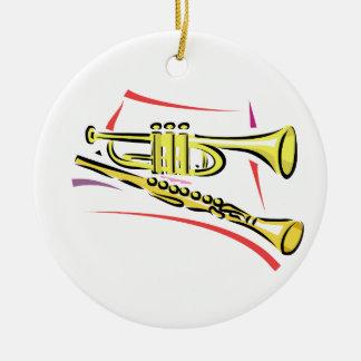 Amarillo gráfico de la imagen del saxofón de la adorno redondo de cerámica