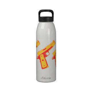 Amarillo gráfico y naranja de la arma de mano del botella de agua reutilizable
