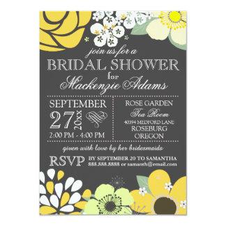 Amarillo gris de la ducha nupcial floral moderna