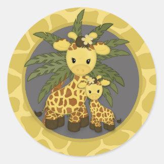 Amarillo gris de la mamá del sello de la fiesta de pegatina redonda