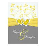 Amarillo, gris, el casarse unido blanco de los invitación 12,7 x 17,8 cm