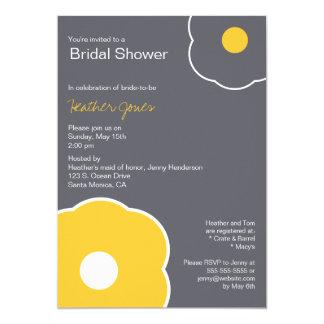 Amarillo/gris nupciales florales modernos de la invitación 12,7 x 17,8 cm