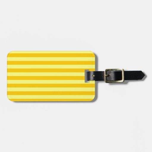 Amarillo HorizontalBroadStripes-Amarillo y de la m Etiqueta De Maleta