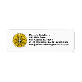 Amarillo ideal del colector del rosario etiquetas de remite
