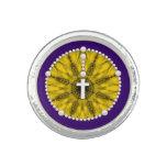 Amarillo ideal del colector del rosario anillos con foto