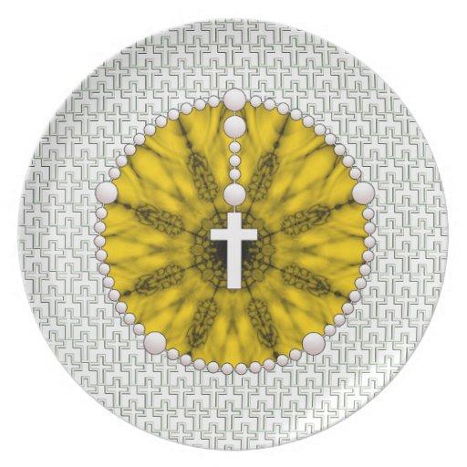 Amarillo ideal del colector del rosario platos para fiestas