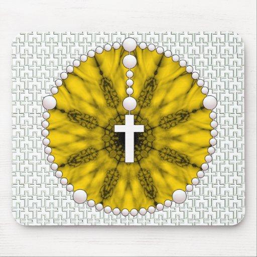 Amarillo ideal del colector del rosario tapetes de raton