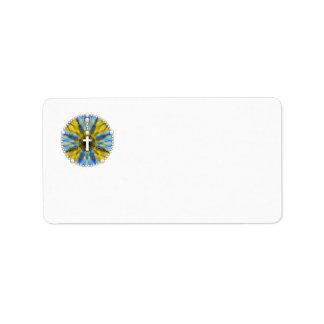 Amarillo ideal y azul del colector del rosario etiquetas de dirección
