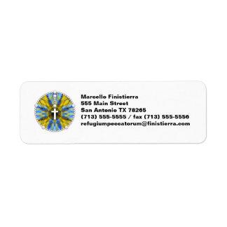 Amarillo ideal y azul del colector del rosario etiqueta de remitente