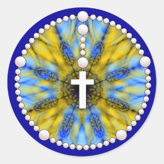 Amarillo ideal y azul del colector del rosario pegatina redonda