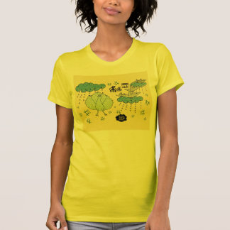Amarillo indio de la camiseta del arte popular poleras