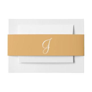 Amarillo indio de los monogramas cintas para invitaciones