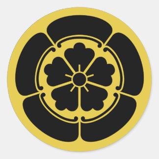 Amarillo japonés del clan del samurai del Oda Pegatina Redonda