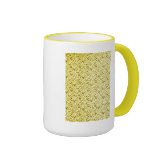 Amarillo limón floral plumoso del vintage taza