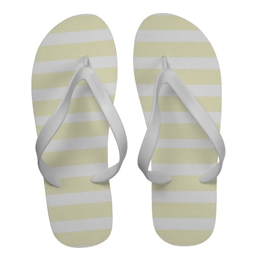 Amarillo limón pálido y el blanco raya flips-flope chanclas de playa