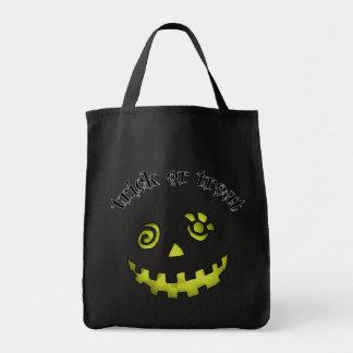 Amarillo loco de la cara de la calabaza de la lint bolsa