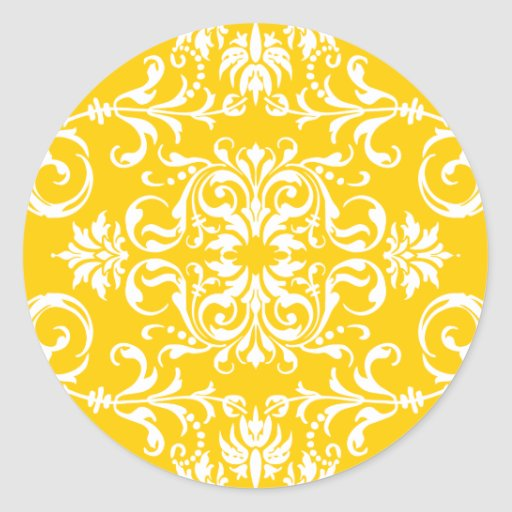 Amarillo + Modelo de encargo del damasco del color Pegatina Redonda
