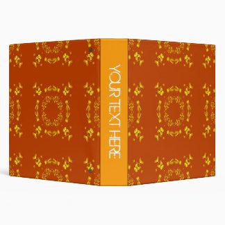 """Amarillo, modelo retro 2 de los damascos florales carpeta 1 1/2"""""""