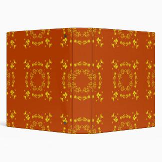"""Amarillo, modelo retro de los damascos florales carpeta 1 1/2"""""""