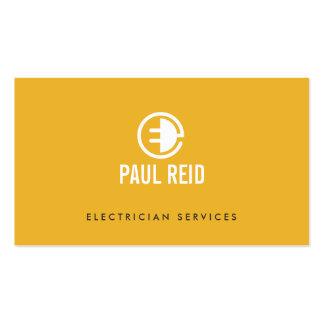 Amarillo moderno del logotipo del electricista tarjetas de visita