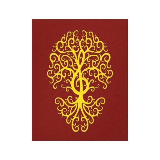 Amarillo musical del árbol del Clef agudo en rojo Lienzo Envuelto Para Galerias