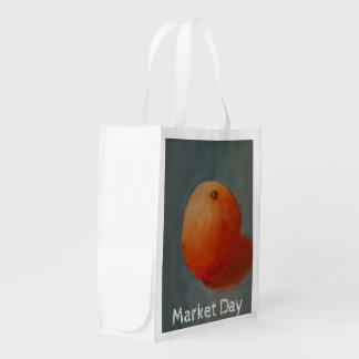 Amarillo-naranja jugoso grande bolsas reutilizables