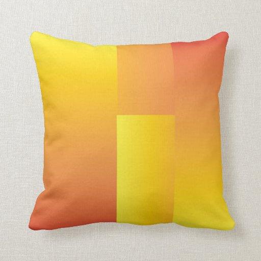 Amarillo, naranja y almohada abstracta roja