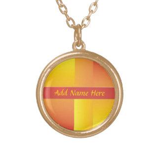 Amarillo, naranja y collar abstracto rojo