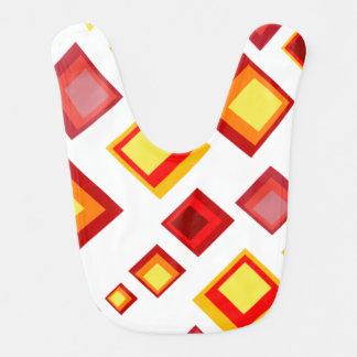 Amarillo, naranja y cuadrados rojos babero para bebé