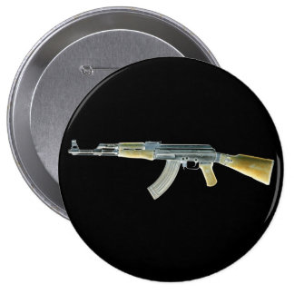 Amarillo negativo de AK-47 Pin Redondo De 4 Pulgadas