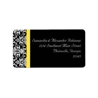 Amarillo negro/blanco del damasco w/Vibrant Etiquetas De Dirección