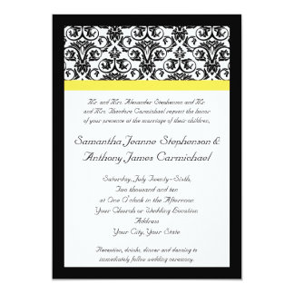 Amarillo negro/blanco del damasco w/Vibrant Invitación 12,7 X 17,8 Cm