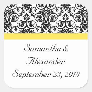 Amarillo negro/blanco del damasco w/Vibrant Pegatina Cuadradas Personalizadas