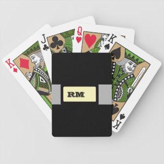 Amarillo negro con monograma cartas de juego