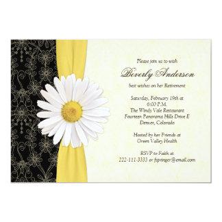 Amarillo negro de la margarita, invitación de invitación 12,7 x 17,8 cm