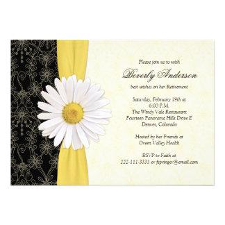 Amarillo negro de la margarita, invitación de marf