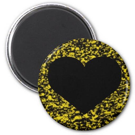 Amarillo negro del corazón iman