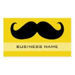 Amarillo negro divertido del bigote y del llano plantilla de tarjeta de visita