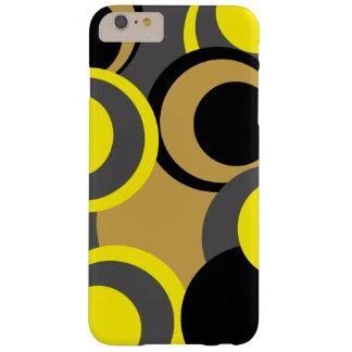 Amarillo negro gris de los nuevos círculos funda de iPhone 6 plus barely there