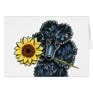 Amarillo negro soleado del caniche miniatura tarjeta pequeña