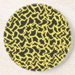 Amarillo negro y brillante del modelo gráfico abst posavasos manualidades
