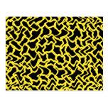 Amarillo negro y brillante del modelo gráfico abst postal