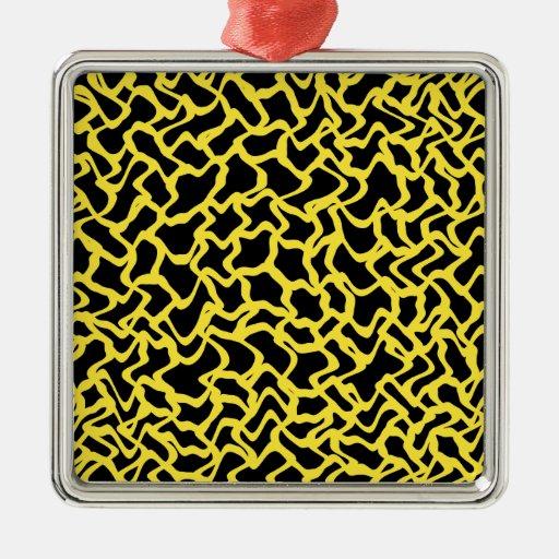 Amarillo negro y brillante del modelo gráfico ornaments para arbol de navidad
