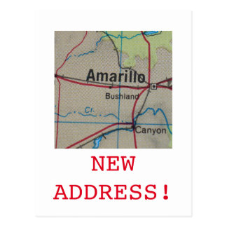 Amarillo New Address announcement Postcard