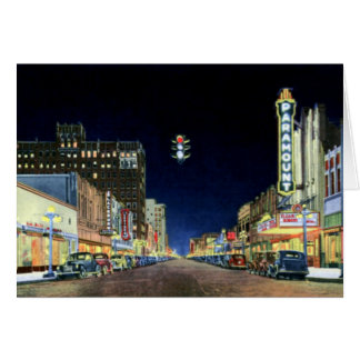 Amarillo Night Scene on Polk Street Cards
