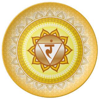 Amarillo/oro Manipura, 3ro (base) placa de Chakra Plato De Cerámica