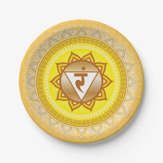 Amarillo/oro Manipura, 3ro (base) placa de Chakra Plato De Papel De 7 Pulgadas