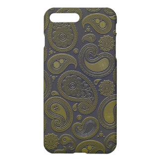 Amarillo Paisley del verde de musgo en Borgoña Funda Para iPhone 7 Plus